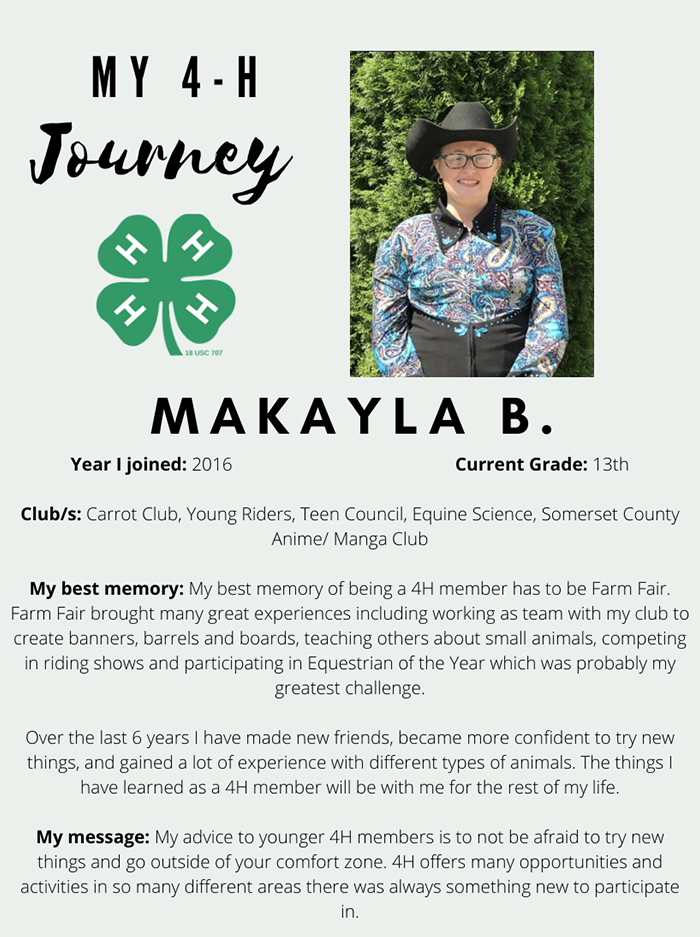 Makayla B. MY 4H Journey